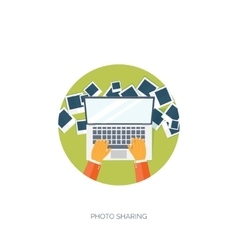 Flat background social media vector