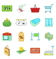 Retail icons set cartoon style vector