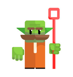 dwarf with a green face and a staff in his hands vector image