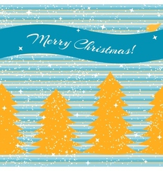 Christmas card with fir trees and stripes vector image