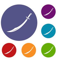 Scimitar sword icons set vector
