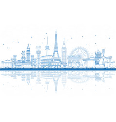 Outline famous landmarks in europe with vector