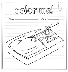 A color me worksheet with a log sleeping vector