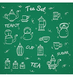 Chalk tea collection vector