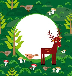 Background green forest with deer fir trees vector