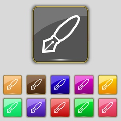 Pen icon sign set with eleven colored buttons for vector