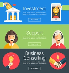 Investment support business consulting flat design vector