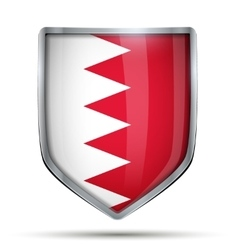Shield with flag bahrain vector