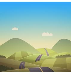 Asphalt road over hills vector