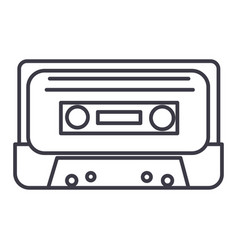 audio tape line icon sign on vector image