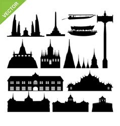 Bangkok symbol and landmark silhouettes set 2 vector image vector image