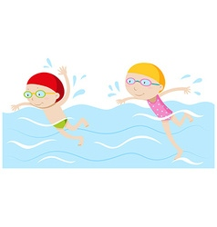 Boy and girl swimming in the pool vector image