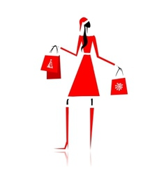 Christmas shopping santa girl with gifts vector image vector image