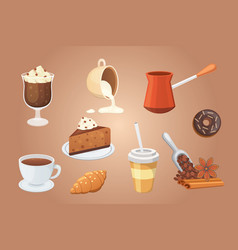 coffee set and sweet desserts isolated vector image