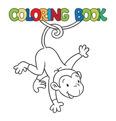 Coloring book of litle funny monkey on lian vector image vector image