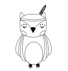 Dotted shape cute owl animal with feathers design vector