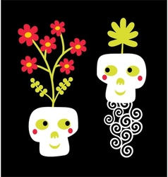 Funny skull couple with flowers vector