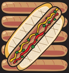 grilled hot dogs vector image vector image