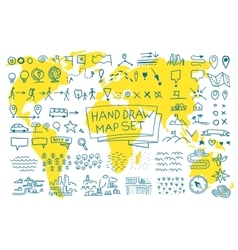 Hand draw map set elements vector image vector image