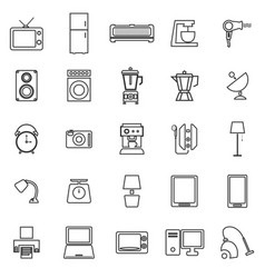 household line icons on white background vector image vector image