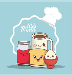 Kids menu meal fresh breakfast vector