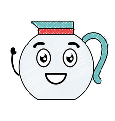 Kitchen teapot kawai character vector