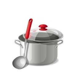 Ladle with a pan isolated on white vector image