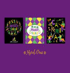 Mardi gras templates for carnival concept vector