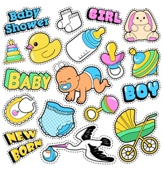 New born baby stickers patches badges scrapbook vector