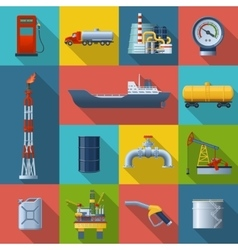 Oil industry square icon set vector