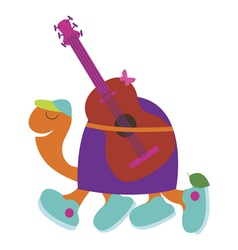 Romantic turtle guitarist vector image