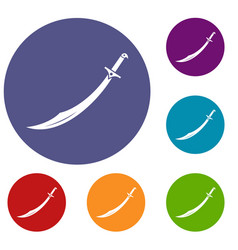 Scimitar sword icons set vector