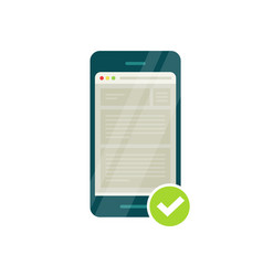 smartphone with mobile phone browser and green vector image