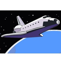 space shuttle in orbit vector image vector image