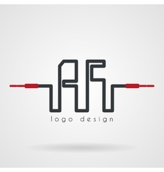 Stock monogram of the electrical wires with vector