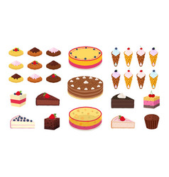Sweet cakes waffles muffins brownies set vector