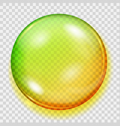 Transparent yellow and green sphere with shadow vector