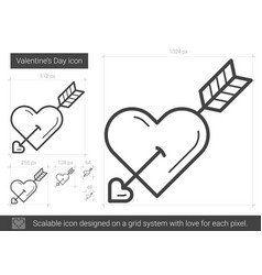 Valentine day line icon vector