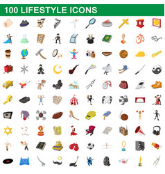 100 lifestyle icons set cartoon style vector image