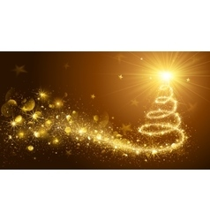 Christmas Tree Gold vk vector image