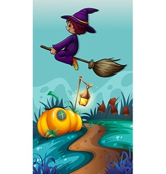 Scene with witch on flying broom vector image