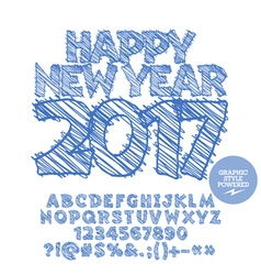 Drawn Happy New Year 2017 greeting card vector image
