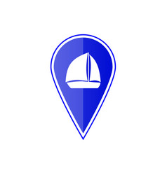 Blue map pointer with sailing boat vector