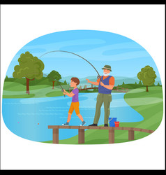 Young boy standing on a pier with grandfather and vector