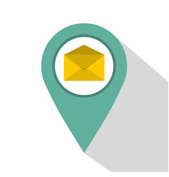 Geo tag mail icon flat style vector