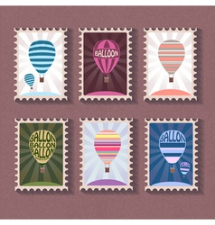 Set of vintage stamp with balloon vector