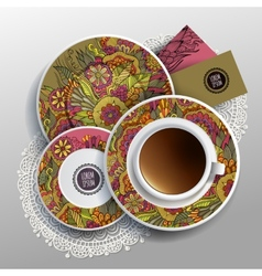 Cup of coffee business cards vector