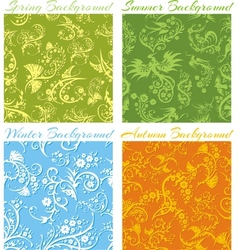Set of Seasons backgrounds - 3D seamless pattern vector image