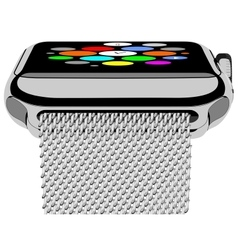 Silver photorealistic smart watch vector