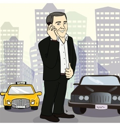 Isolated smiling businessman on a city street vector
